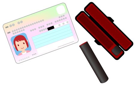 Illustration of seal, stamp case and my number card Vettoriali