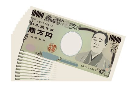 Illustration of 100,000 yen spread outTranslation: Bank of Japan notes, Ichiman Yen, Bank of Japan