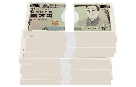 Illustration of a wad of 10 million yen that is not properly arrangedTranslation: Bank of Japan notes, Ichiman Yen, Bank of Japan
