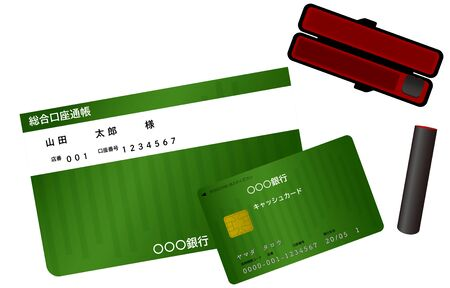Illustration of bank passbook, cash card and sealTranslation: Taro Yamada, store number, account number, general account passbook, bank, please enter in the direction of the arrow, cash card, Taro Yamada, financial institution code, store number, account number, date of issue Vettoriali