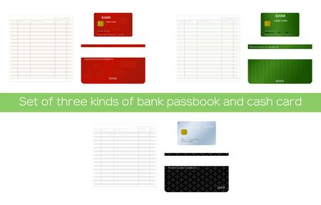 Illustration set of passbook with open and closed passbook and cash card Vettoriali