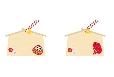 Ema: Vector illustration of ema with daruma and sea bream with space for writing wishesJapanese style design  -Translation: fortune