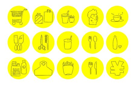 Rough handwritten icon set: shopping and eating vector illustrations