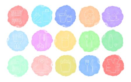 Rough handwritten watercolor style icon set: shopping and eating vector illustration