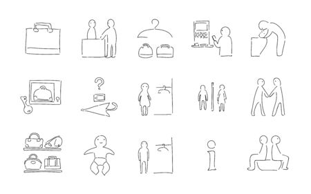 Rough handwritten icon set: vector illustration of changing room, toilet, etc.Black and white version Illusztráció