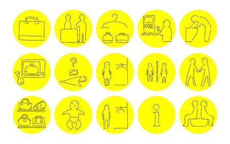 Rough handwritten icon set: vector illustration of changing room, toilet, etc.Yellow on black