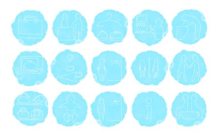 Rough handwritten watercolor style icon set: vector illustration of changing room, toilet, etc.Blue on white