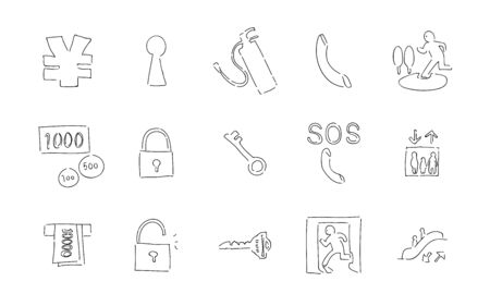 Rough Handwriting Icon Set: Security and Money Vector IllustrationsBlack and white version