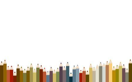 Frame material of irregularly arranged colored pencils, vector illustrationpastel colour 向量圖像