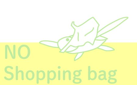 Illustration of a sea turtle eating a plastic bag