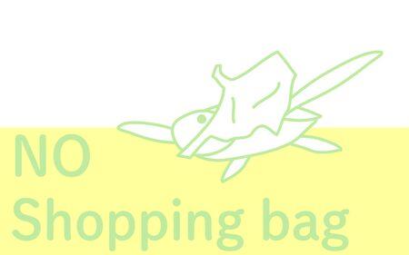 Illustration of a sea turtle eating a plastic bagVector illustration