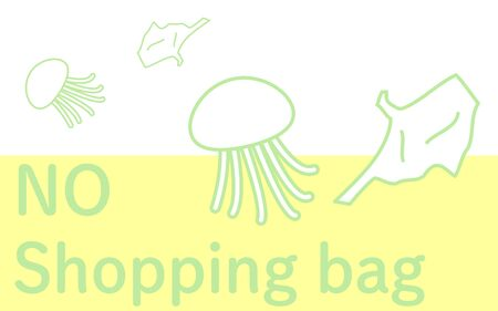 Illustration of a plastic bag floating in the sea like a jellyfish