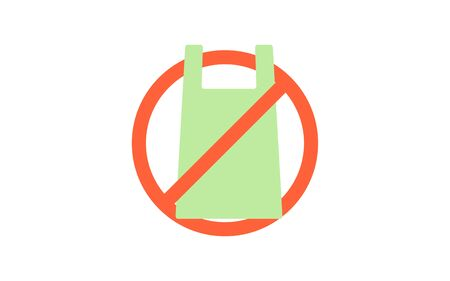 Shopping bag reduction simple icon illustration, green