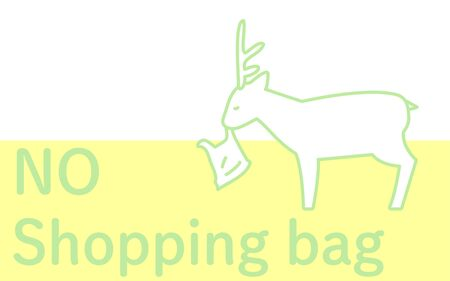 Illustration of a wild deer eating a plastic bag