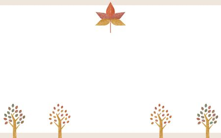Illustration of maple and roadside trees in autumn colors, transparent watercolor style