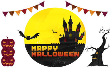 Halloween castle and moonlit night illustration, watercolor style grungeVector illustration