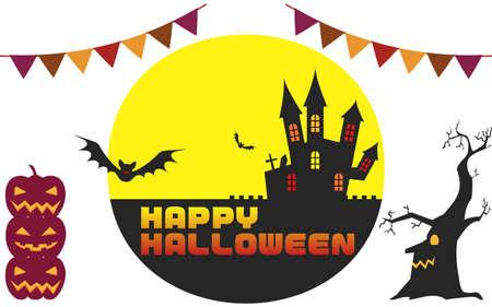 Halloween castle and moonlit night illustration, unprocessed versionVector illustration