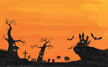Halloween castle and graveyard landscape illustration, watercolor style grungeVector illustration