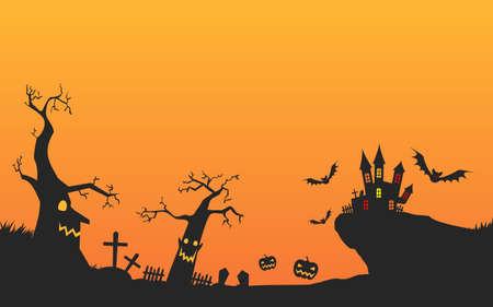 Landscape illustration of Halloween castle and graveyard, unprocessed versionVector illustration