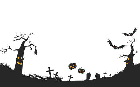 Illustration of a spooky graveyard with a haunted Halloween pumpkin and dead treeVector illustration Vectores