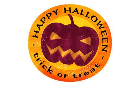 Illustration of orange orange halloween icon, purple jack o lanternVector illustration