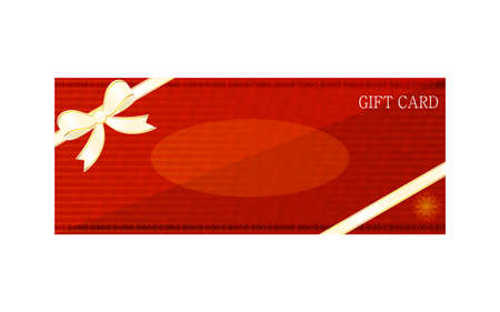 Illustration of red gift card with wrapping ribbonVector illustration Stock Illustratie