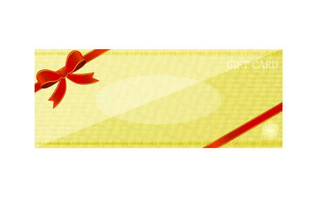 Illustration of yellow gift card with wrapping ribbonVector illustration