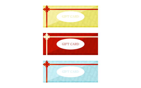 Illustration of yellow, red and blue gift card with wrapping ribbon