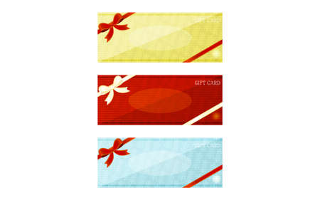Illustration of yellow, red and blue gift card with wrapping ribbonVector illustration