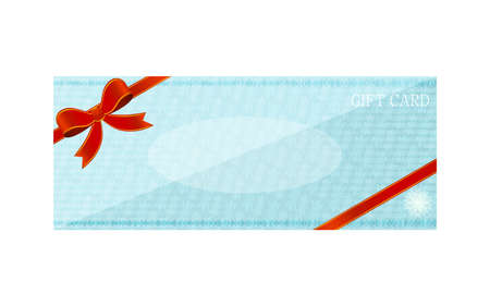 Illustration of blue gift card with wrapping ribbon
