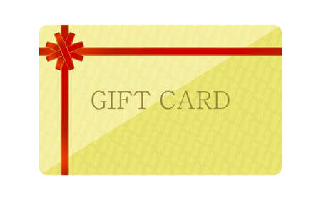 Illustration of yellow gift card with wrapping ribbon