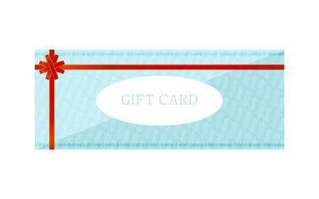 Illustration of blue gift card with wrapping ribbonVector illustration