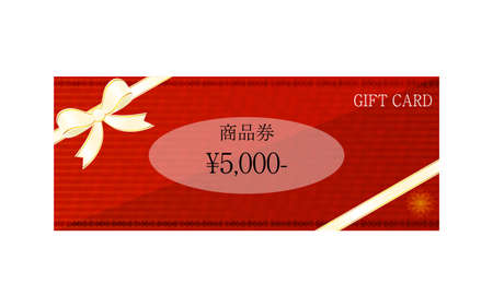 Illustration of red gift card with wrapping ribbonVector illustrationTranslation: Gift certificate Stock Illustratie
