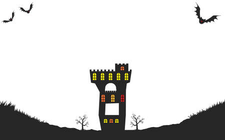 Background material, silhouette of old castle for halloweenVector illustration  イラスト・ベクター素材