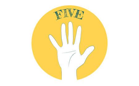 Hand sign icon, number 5, finger lettersVector illustration Vectores