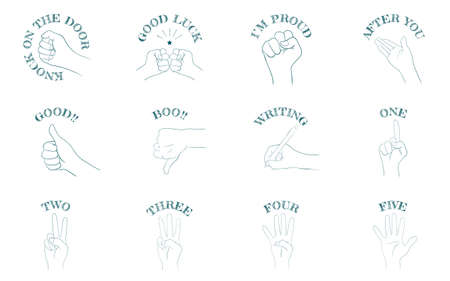 Hand sign icon set 12 types, communication and numbersVector illustration