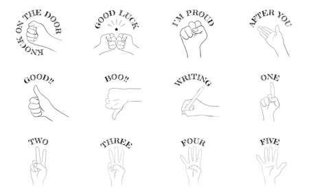 Hand sign icon set 12 types, communication and numbers