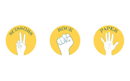 Hand sign icon, set of rock-paper-scissors
