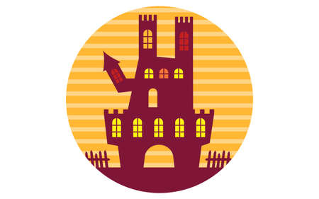 Illustration of Halloween icon of old castle