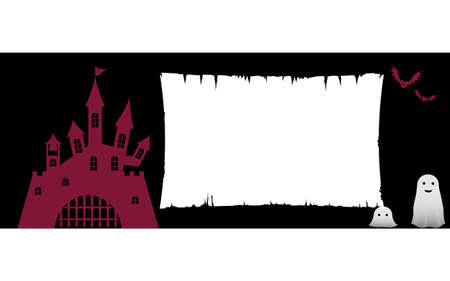 Illustration of old castle and Halloween character