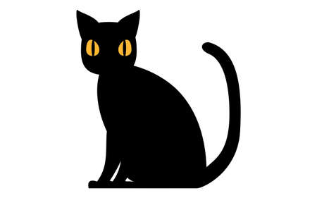 Illustration of a simple black cat sitting