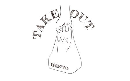 Takeout icon, illustration of buying a lunch and bringing it homeVector illustration