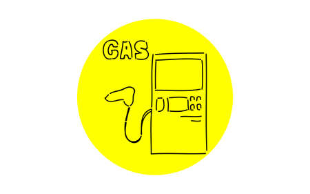 Analog handwriting style loose touch icon: Gas station