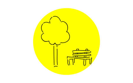 Analog handwriting style loose touch icon: bench and wood