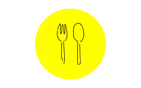 Analog handwriting style loose touch icon: fork and spoon Ilustrace