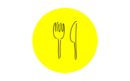 Analog handwriting style loose touch icon: fork and knife