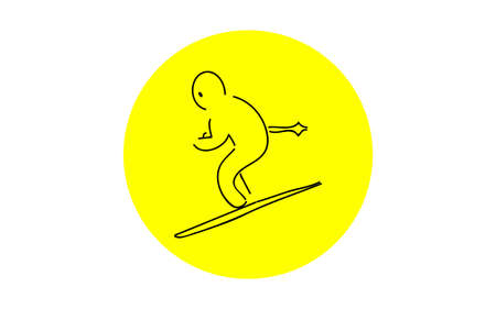 Analog handwriting style loose touch icon: skier Illustration