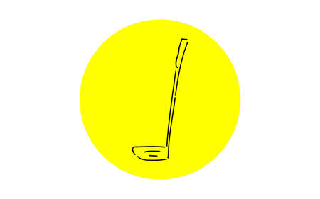Analog handwriting style loose touch icon: Golf putter 矢量图像