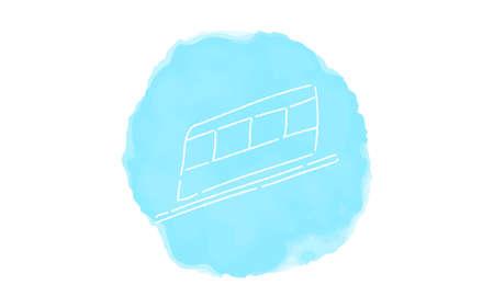 Handwritten simple icon illustration: Linear motor car