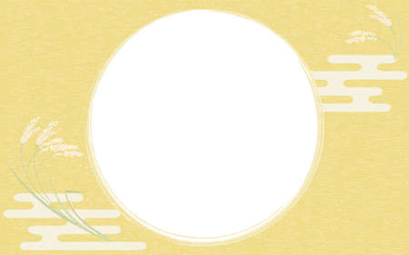 Illustration of grown rice and round frame, Japanese style background